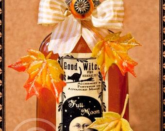Potion Bottle, Potion, Halloween Potion, Halloween, Orange, Yellow, Autumn, Moon, Leaves, Harvest, Full Moon, Apothecary