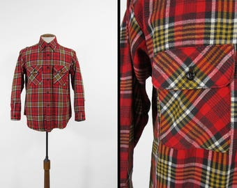 Vintage 5 Brother Flannel Shirt Red Plaid Cotton Long Sleeve 1970s Made in USA - Size Large