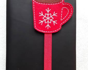 Christmas Snowflake Coffee/Hot Chocolate Cup Planner Band. Planner Gifts.  Stationery.  Bookmark.  Page Marker.