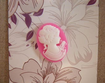 White cameo on pink backed - other colors available