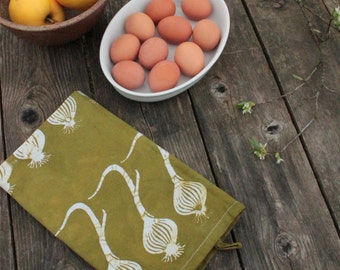 hand printed cotton tea towel olive onions pattern