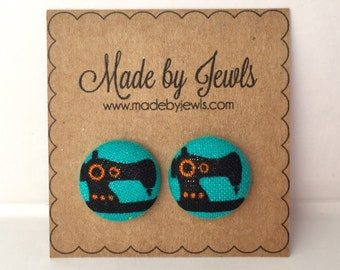 Vintage Sewing Machine Gift for Seamstress Quilter Handmade Fabric Covered Hypoallergenic Button Post Stud Earrings