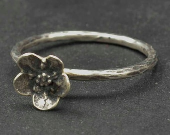 Sterling Flower Ring, Forget Me Not, Sterling Ring, Metalsmith Jewelry