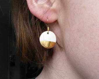 Medium gold dipped porcelain earrings