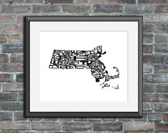 Massachusetts typography map art unframed print personalized custom state poster custom wall decor engagement wedding housewarming gift