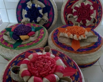 Large Handmade Mexican Woven tortilleros,straw basket,party supply,bread basket,tribal decor,party centerpiece,Mexican Jewlery box,basket
