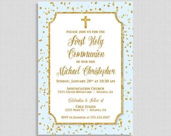 First Communion Invitation,  Blue & Gold Glitter Confetti Holy Communion Invite, Boy, DIY PRINTABLE