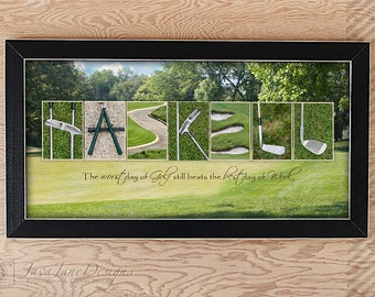 Retirement GOLF Gift for Men, Personalized Golf Name Art, Golf Office Décor, Man Cave Artwork, Golf Letter Photos, Gift for Dad, Grandpa