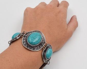 Howlite bracelet, stones bracelet, Romantic jewelry, Bohemian bracelet, Gifts for her, silver plated bracelet, safe bijoux