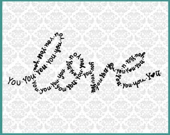 CLN0590 Love You Hand Lettered Typography Romance Word Art SVG DXF Ai Eps PNG Vector Instant Download Commercial Cut File Cricut Silhouette