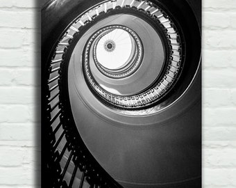 """Black and White Spiral Staircase Canvas Wrap - stairs 8x12 16x24 architecture photography 24x36 canvas wrap large art - """"Floating Up to You"""""""