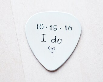 Groom Wedding Gift - I Do & Wedding Date - Personalized Gift for Husband - I Do Wedding - Customized Pick - Hand Stamped Copper Guitar Pick