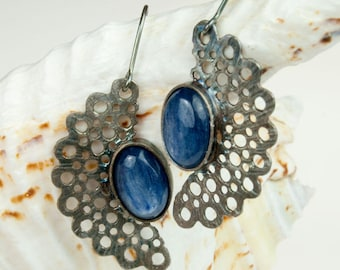 Silver Handmade Earrings, Silver  stud, earrings, Sterling silver, Striped flint earrings, jewelry, A130, lace,