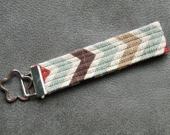 Neutral Chevron Linen Fabric Key Fob Wristlet