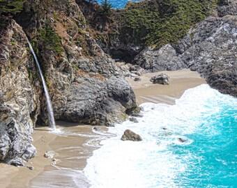 McWay Falls, Julia Pfeiffer Burns State Park, Waterfall, Ocean, Mountain, Beach, Big Sur, Central California