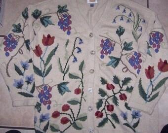 Women Spring Sweater Cardigan Ramie Cotton Grapes TALBOTS 80'S Size M VINTAGE