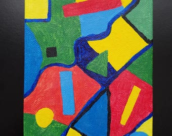 Abstract acrylic painting 4x5 inch