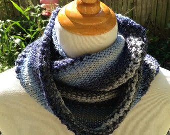 Hand Knit infinity scarf or Cowl in Winter Blue Stripes