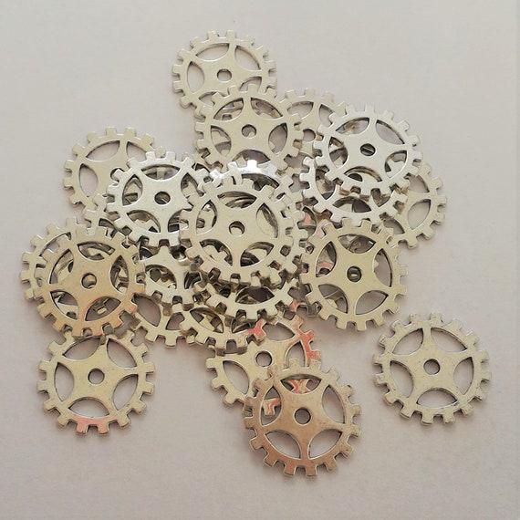 "CLEARANCE 28 pcs Steampunk Clock Gears Cogs Charms Metal Bike Steampunk Jewelry Silver Metal Watch Gears 3/4"" Diameter Bicycle Gears"