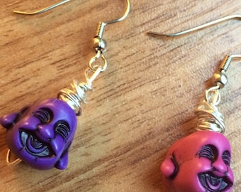 Mismatched Laughing Buddha Head Earrings