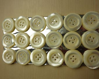 18 old mother of Pearl buttons on card 4 hole 22.5 mm