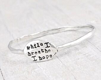 Hope Bangle - Word Bracelet - Inspiration Jewelry - B374
