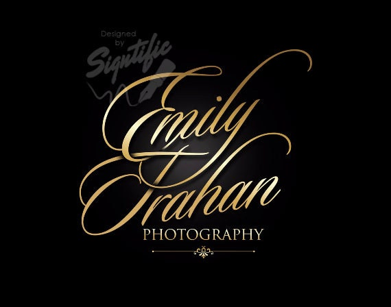 Elegant photography logo, FREE watermark, gold signature logo, photo watermark, graphic design logo, photography branding design
