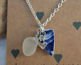 Silver sea glass and sea pottery pendant necklace