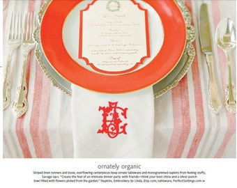 Napkins as seen in the Knot magazine. Linen Napkins, Wedding Napkins,cloth napkins,dinner napkins, wedding napkins, beautiful, elegant,