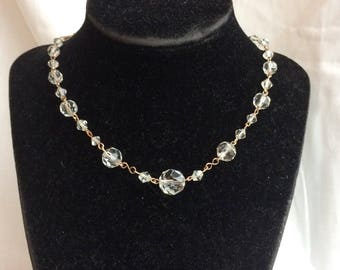 Lovely Vintage Art Deco Clear Crystal Rolled Rose Gold Necklace
