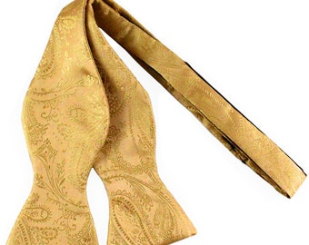 New Men's Paisley Gold Self-Tie Bowtie, for Formal Occasions