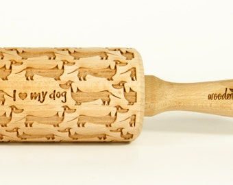 Dachshund Rolling Pin, Engraved Rolling Pin, Embossed Rolling Pin, Wooden Rolling pin