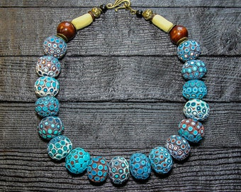 Turquoise Statement Necklace for women beaded necklaces for women african jewelry blue necklace large necklace big bold chunky necklaces