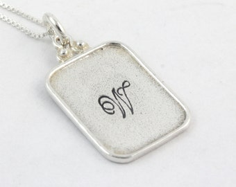 Rectangle Necklace - Initial Necklace - Sterling Silver Necklace - Personalized Necklace - Mother's Day Gift for Mom - Valentine's Day Gift