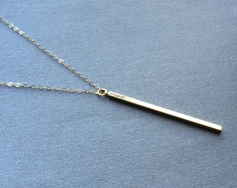 Long Bar Necklace, Layered Necklace, Long Gold Bar Necklace, 14kt Gold Filled Chain