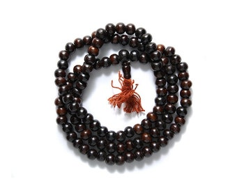 108 Bone Mala Necklace Brown Round Beads, 108 Bone Mala prayer beads.