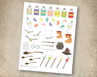 Harry Potter Stickers, matte or glossy planner stickers, life planner stickers, erin condren filofax, mambi happy planner
