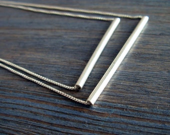 Tube Fantasy. Asymmetric Trapeze Necklace. Sterling Silver. Hand Made Layering Necklace. Two Layer Necklace. Dainty Design. Recycled Silver.