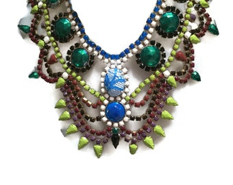 HOPSCOTCH green brown cream black inspired by Marni pre fall 2015hand painted rhinestone statement bib neckl