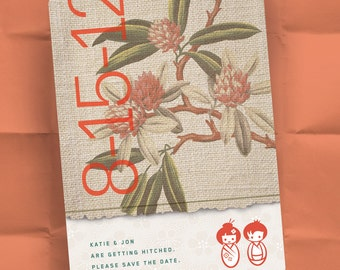 Save the Date Invitations - Japanese Garden - Kokeshi Dolls - Personalized Asian Inspired Design - 100 Postcards