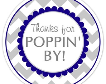 36 Baby Shower Thanks for Poppin' By labels, Navy Blue and Gray Chevron, Baby Shower Labels