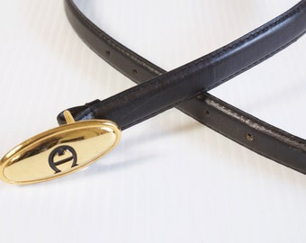 Vintage Etienne Aigner Black Women's Leather Belt size small