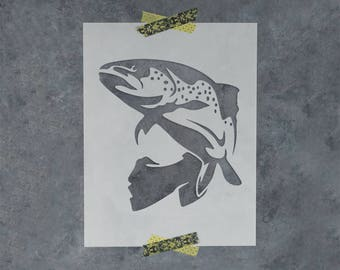 Trout Fish Stencil - Reusable DIY Craft Stencil of Fish (Trout)