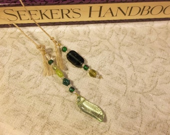 Archival Hemp Book Thong with Green Glass Charms Handmade Bookmarker