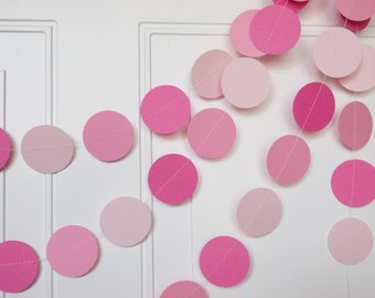Party Paper Circle Garland, Pink Ombre, Party Decoration, All Occasion Garland, Birthday Garland,  Party Decor 12' Circles
