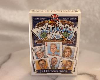 1 Pack of 54 Unused Vintage Funny Politicards 1996 54 Famous Faces Blue Back