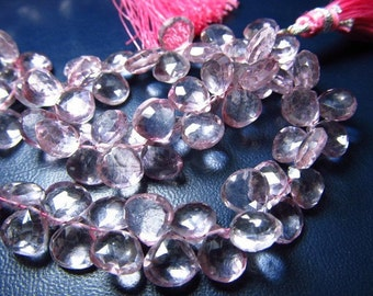 8 Inches FULL STRAND - Very Very Fine QUALITY -- pink colour  Mystic Quartz  Faceted Heart - Briolett   - So Gorgeous Pink Colour  - Size 8