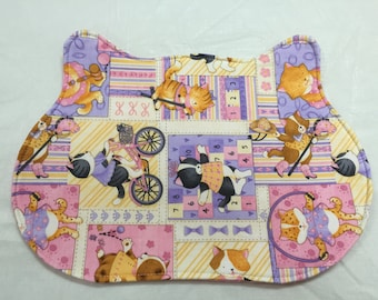Cat dish placemat, cat head shaped, Cat dishes, placemat, FREE shipping