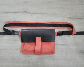 Fanny Pack, Leather women's belt bag, Leather Fanny Pack, Waist Bag, Belt Bag, Hip Bag, Coral leather belt bag, Leather Waist Bag, Modern