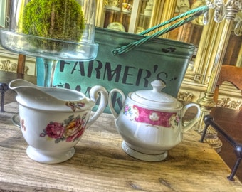 Mismatched Vintage China Sugar and Creamer Set for Tea Parties, Bridal Luncheons, Showers